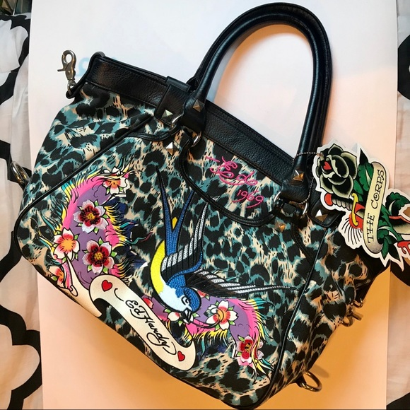 e1d0fd756f ED HARDY - black leather cheetah print tote bag. M 5b32d4e89fe4869779533ed6